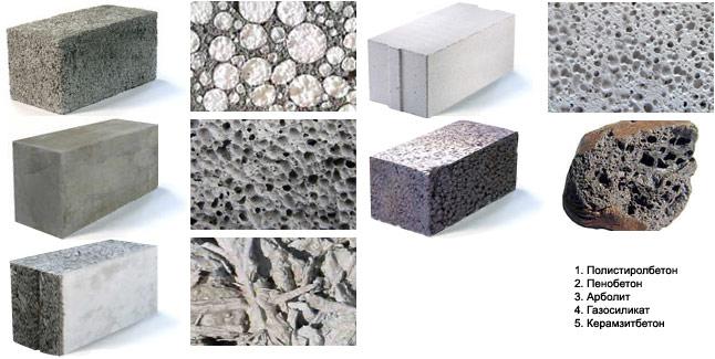 Виды стеновых блоков из лёгких бетонов