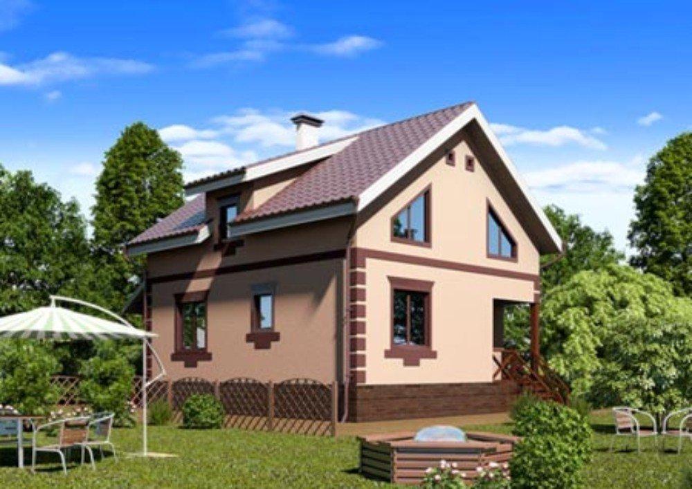 Оштукатуренный и окрашенный дом из пенобетона.