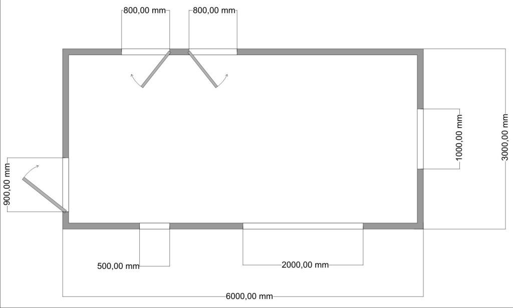 Чертеж гаража 3*6 м с проемами и воротами.