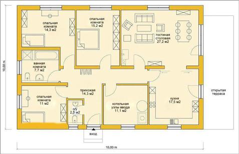 Проекты 1 этажных домов из пеноблоков