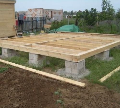 Столбчатый фундамент из блоков для одноэтажной постройки.