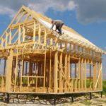 Строящийся деревянный каркас, фото