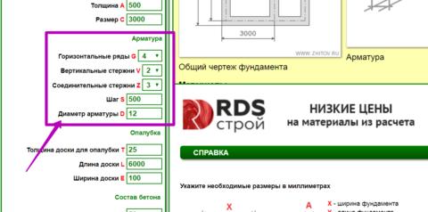 Окна для ввода характеристик арматуры