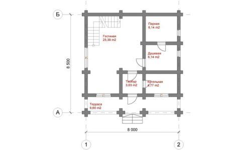 Чертеж одноэтажной бани