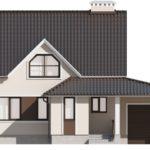 Дом из пеноблоков с гаражом и мансардой – фасад вид спереди