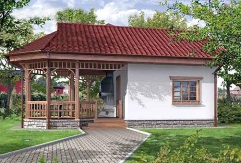 Готовые проекты – одноэтажные бани из пеноблоков с террасой