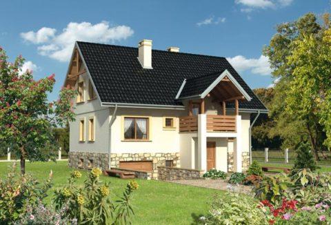 Компактный частный дом с гаражом в цокольном уровне и мансардным этажом – достаточно бюджетный вариант жилья