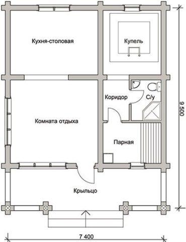 Одноэтажная баня может быть очень функциональна