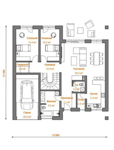 Расположение помещений первого этажа