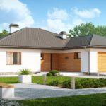 Удобный и практичный вариант одноэтажного дома с помещением для машин