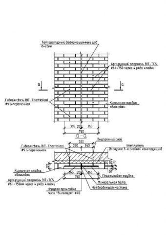 Схема устройства вертикальных деформационных швов в кирпичной облицовке