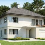 Двухэтажный дом из пеноблоков с гаражом - фото