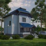 Компактный двухэтажный дом из ячеистых блоков