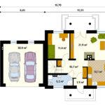 Проект гаража из пеноблоков на 2 машины, пристроенного к дому