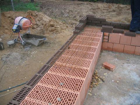Облицовка стен из теплых блоков гиперпрессованным кирпичом