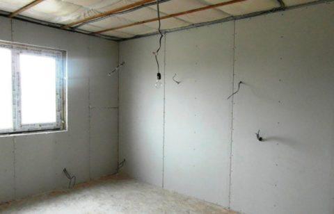 Отделка стен в помещении гипсокартоном