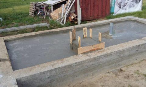 Если фундамент будет ленточный, полы придётся заливать по грунту, а под печку делать отдельную опору