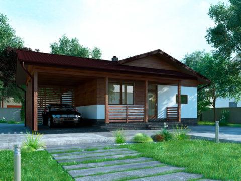 Проект дома с баней из пеноблоков и навеса для машины